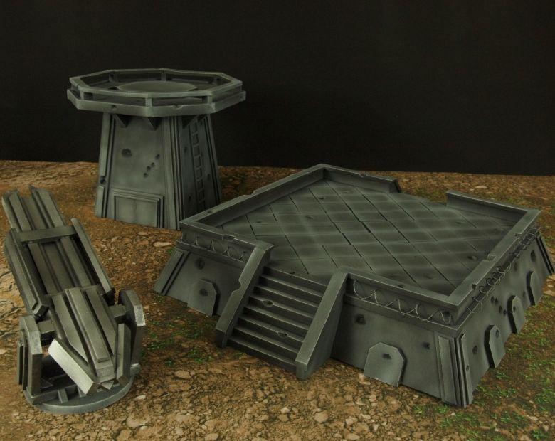 Warhamme 40k terrain orbital gun emplacement fortress tower turret 12