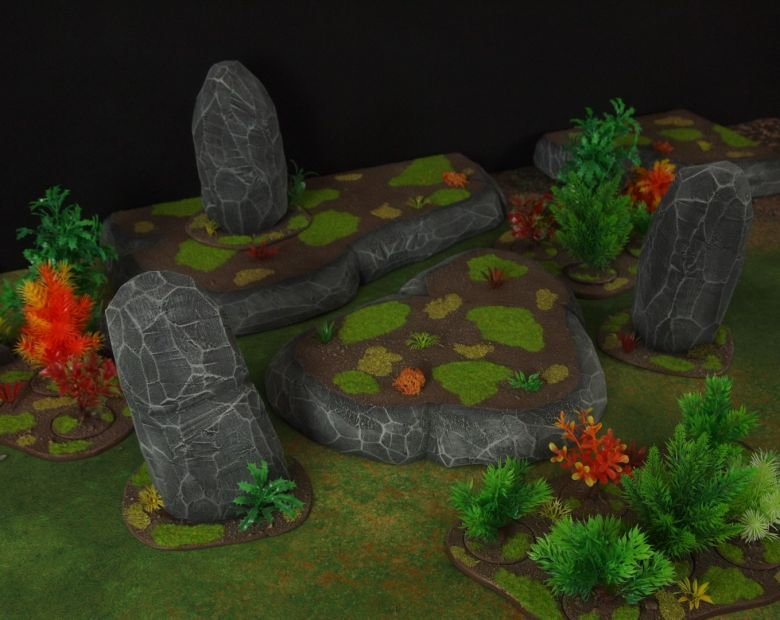 Warhammer 40k jungle terrain set rocks hill 1