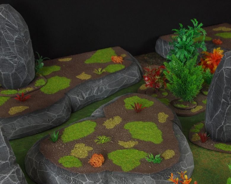Warhammer 40k jungle terrain set rocks hill 2