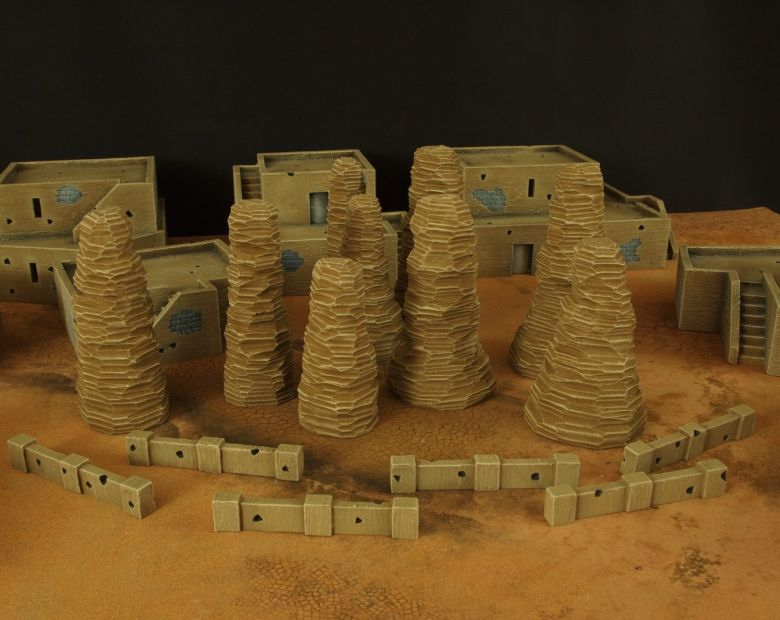 Warhammer 40k terrain desert city rocks low walls 1
