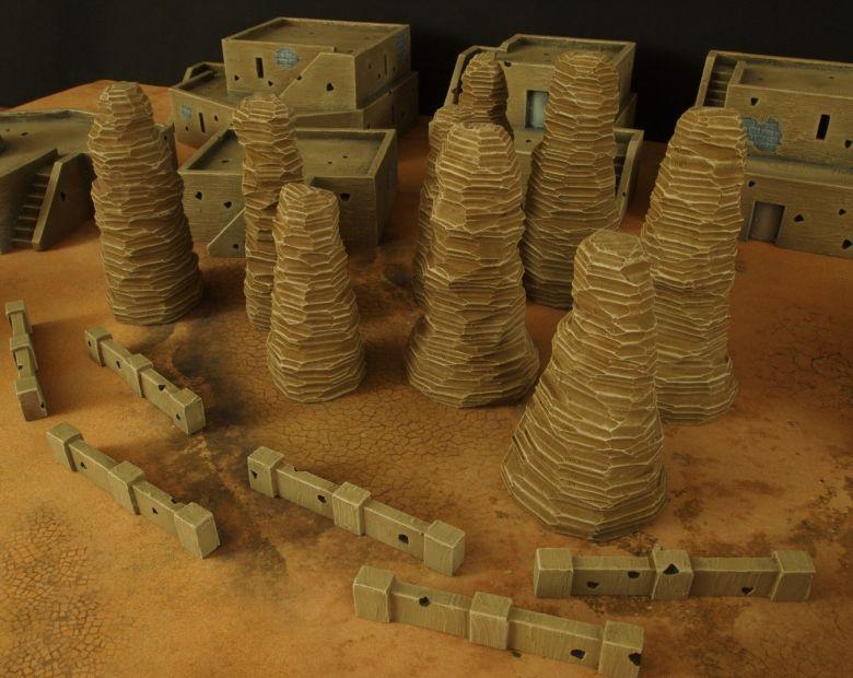 Warhammer 40k terrain desert city rocks low walls 2