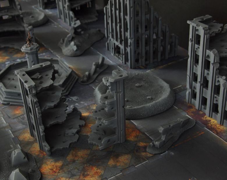 Warhammer 40k terrain fallout cityfight ruins crater 1