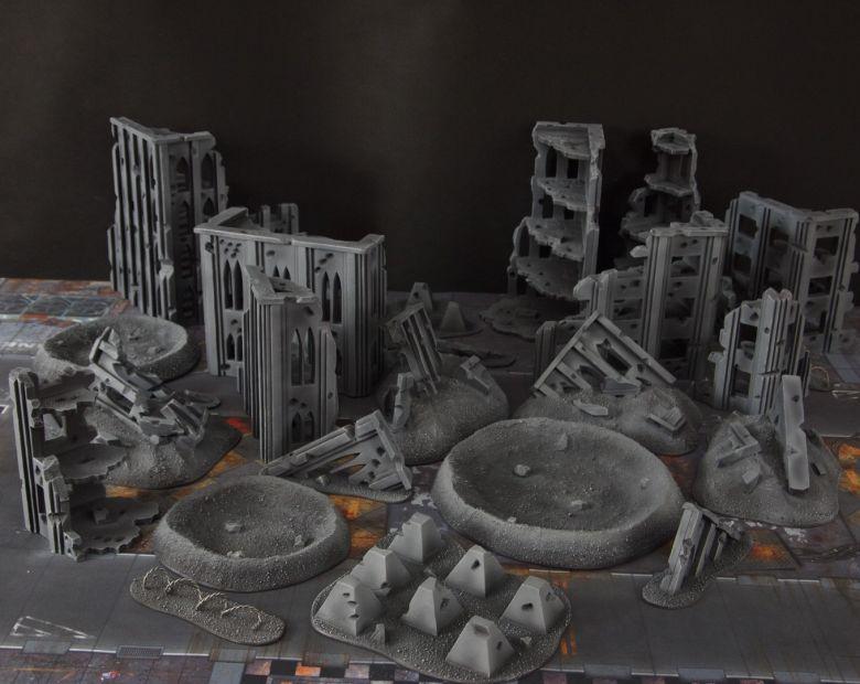Warhammer 40k terrain fallout cityfight ruins craters 1 1