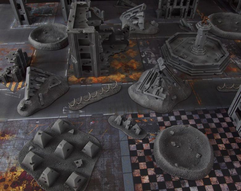 Warhammer 40k terrain fallout cityfight ruins tanktraps 1