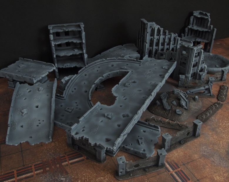 Warhammer 40k terrain fallout zone cityfight motorway highway set 1 1
