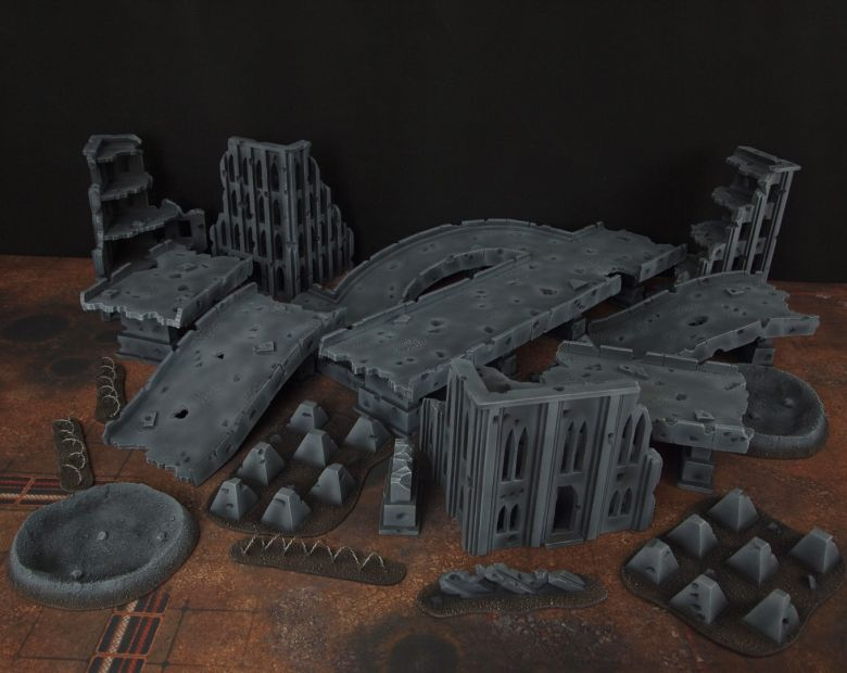 Warhammer 40k terrain fallout zone cityfight motorway highway set 1