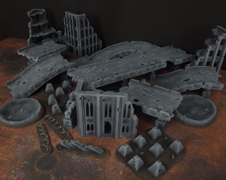 Warhammer 40k terrain fallout zone cityfight motorway highway set 2