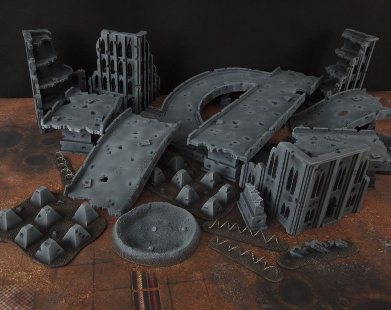 Warhammer 40k terrain fallout zone cityfight motorway highway set 3