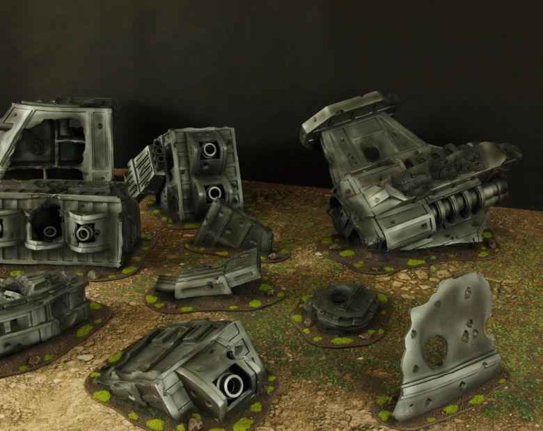 Warhammer 40k terrain grass wrecked cruiser 2