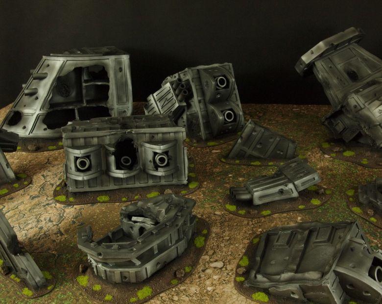 Warhammer 40k terrain grass wrecked cruiser 3