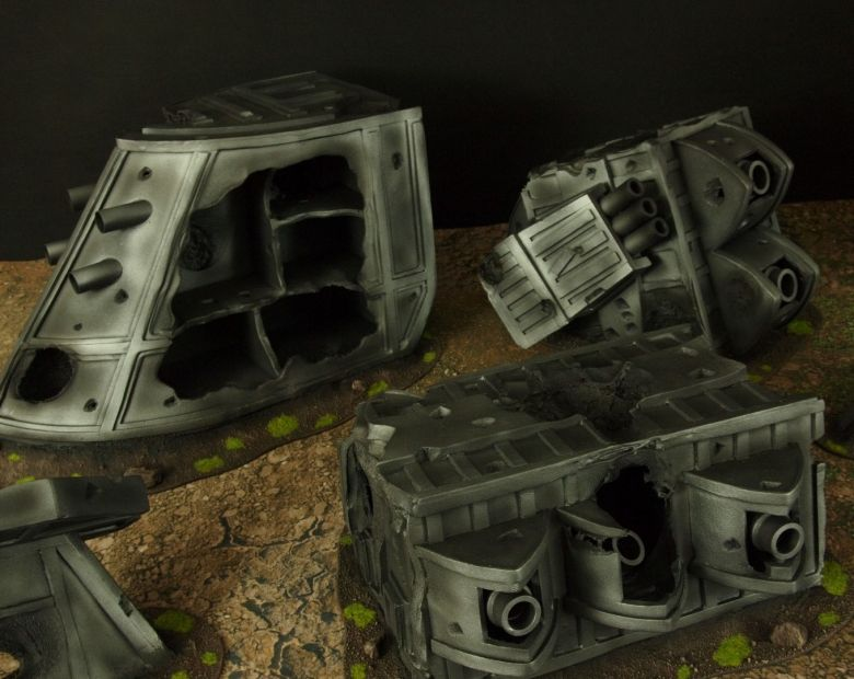 Warhammer 40k terrain grass wrecked cruiser 4