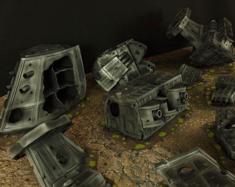 Warhammer 40k terrain grass wrecked cruiser 5