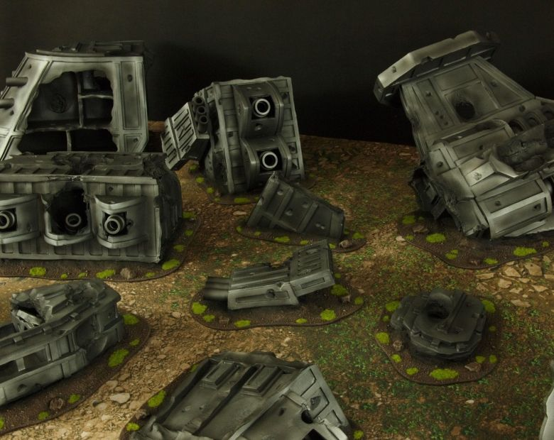 Warhammer 40k terrain grass wrecked cruiser 6