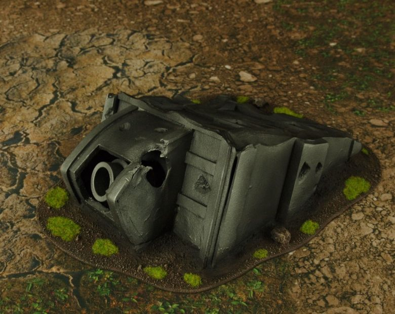 Warhammer 40k terrain grass wrecked cruiser bulkhead 2