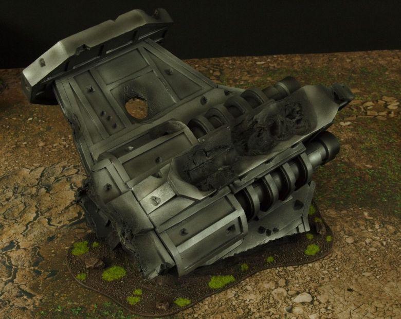Warhammer 40k terrain grass wrecked cruiser engines 1