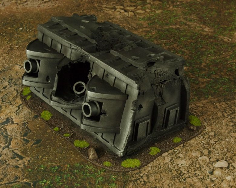 Warhammer 40k terrain grass wrecked cruiser gundeck 3