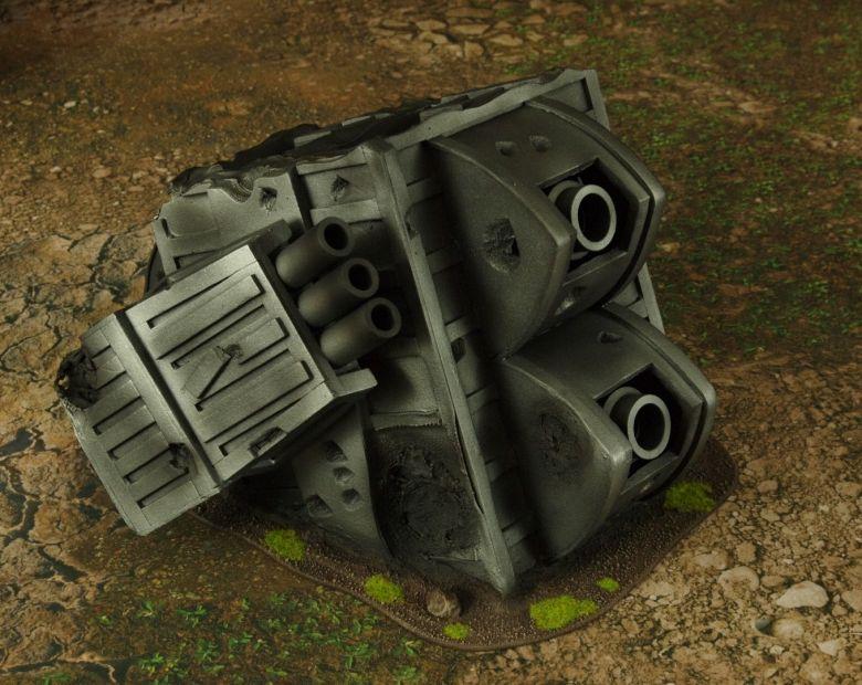 Warhammer 40k terrain grass wrecked cruiser gundeck turret 1