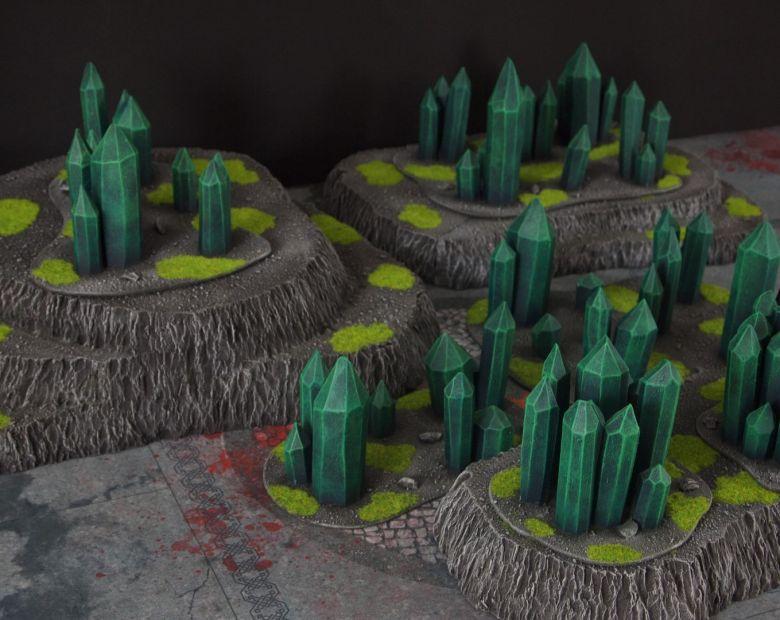 Warhammer 40k terrain necron set hills crystals 1