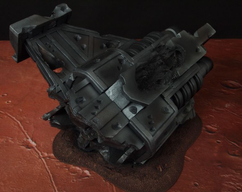 Warhammer 40k terrain wrecked cruiser engines wing 1